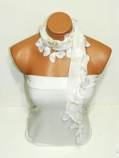 Personalized Design cream white Scarf Turkish by WomanStyleStore, $14.00