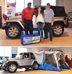 Congratulations to Gabriella and Ron Allen for winning the Napier Sportz SUV tent that we set up in our Showroom last month. The tent will go perfect with Gabriella's new Jeep Wrangler!