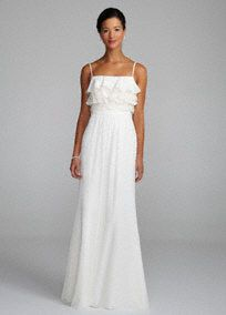Long, flowing and luxurious - what a beautiful way to say your vows and wow the crowd. No detail is ignored in the construction of this stunning gown. Features layers of chiffon and lace tiered bodice with chiffon ruched waist. Long chiffon skirt offers that gorgeous flow you are looking for in your gown. Fully lined. Back zip. Imported polyester. Dry clean only.A sheer, flowing fabric that drapes well on the body.A sheer, flowing fabric that drapes well on the body.A sheer, flowing fabric t...