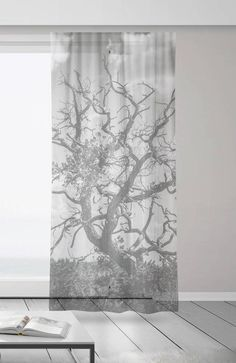 Black and White Curtains Tree Branches Sheer Window Curtains