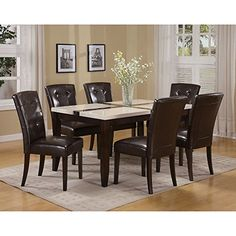 ACME Justin Dining Table in White and Walnut