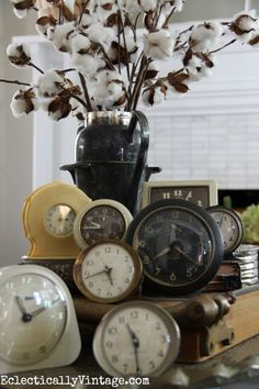 Vintage clocks - she has the best collections and the house is beautifully decorated for fall eclecticallyvintage.com