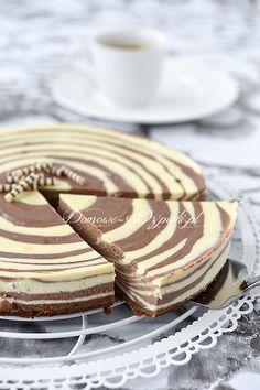 Sernik zebra Polish Desserts, Polish Recipes, No Bake Desserts, Breakfast Cake, Vegan Treats, Coffee Recipes, Cheesecakes, No Bake Cake, Eat Cake