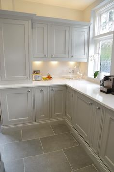 Light Gray Cabinets, Grey Kitchen Cabinets, Kitchen Flooring, Bathroom Cabinets, Bathroom Vanities, Home Decor Kitchen, Kitchen Interior, Home Kitchens, Kitchen Ideas