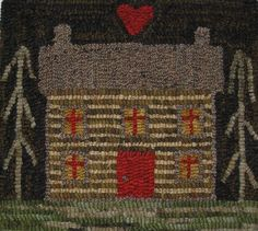 Hand Made Primitive Hooked Rug Log Cabin Folk Art Early Style Rug Hooking Designs, Rug Hooking Patterns, Rug Patterns, Inchies, Wooly Bully, Punch Needle Patterns, Hand Hooked Rugs, Primitive Antiques, Primitive Crafts