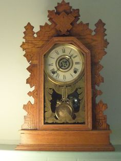 """antique """"eagle"""" mantle clock by wm l gilbert clock co fully functioning with key"""