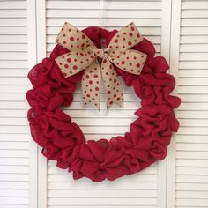 Polka Dot Red Burlap Wreath with Removable Burlap Polka-Dot Bow, Burlap Wreath - pinned by pin4etsy.com