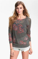 Frenchi® Floral Print Sweater (Juniors)