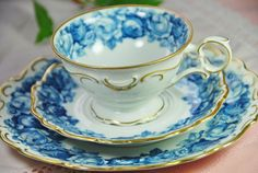 SCHUMANN Tea Trio Cup Saucer Plate Blue Roses by DadsTeacups