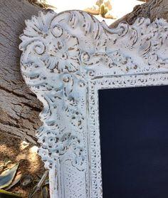 White Framed Chalkboard Shabby Chic Ornate