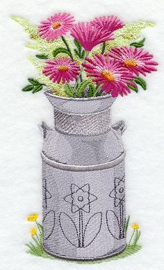 Machine Embroidery Designs at Embroidery Library! - Flowers in Vases Sewing Machine Embroidery, Free Machine Embroidery Designs, Vintage Embroidery, Floral Embroidery, Cross Stitch Embroidery, Hand Embroidery, Flower Embroidery Designs, Embroidery Ideas, Gerbera Daisies