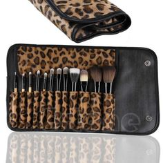 Fashion 12 Pcs Professional Cosmetic Tool Makeup Brush Set Leopard Bag #Affiliate