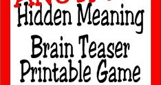 Brain Teasers are a great way to challenge the brain and have a little fun. Check out this printable brain teaser game with the answers that you an play at your Divergent party or anytime you need a little brain stretch. Word Brain Teasers, Printable Brain Teasers, Brain Teaser Games, Divergent Party, Emoji Puzzle, Picture Stand, End Of Year, Fun Challenges, Word Games