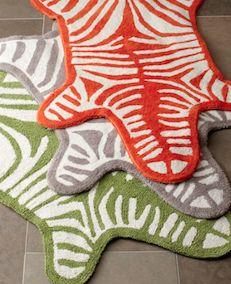 Colorful zebra bath rug
