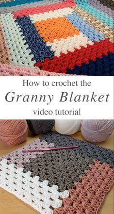 Granny Square Crochet Pattern, Afghan Crochet Patterns, Crochet Afghans, Free Easy Crochet Patterns, Easy Blanket Knitting Patterns, Granny Square Tutorial, Crochet Throw Pattern, Granny Square Projects, Crochet Granny Square Afghan