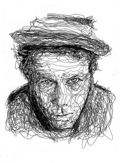 Ball point pen on paper! Tom Waits by Kris Trappeniers