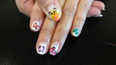 Minion summer flip flop ombre nail art #jenatPerfect10