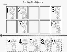 fireman counting worksheet
