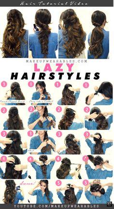 4 Easy Lazy Hairstyles | Cute braids   ponytails | #hair #Peinados #promdress #coniefoxdress