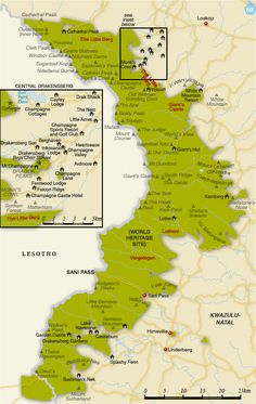 Map Drakensberg - BelAfrique your personal travel planner - www.BelAfrique.com
