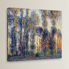 Lark Manor 'Poplars at Giverny at Sunrise' by Claude Monet  Painting Print on Canvas