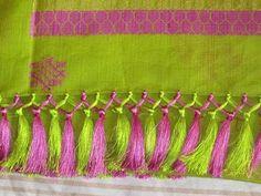 tassels for saree pallu Saree Jacket Designs, Saree Tassels Designs, Saree Kuchu Designs, Saree Blouse Neck Designs, Gold Silk Saree, Silk Sarees, Sewing Ruffles, Saree Border, Hand Embroidery Designs