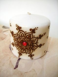 Mandala Henna Candle   - party pack of 5 candles - Handpainted - OOAK