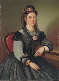 Portrait of a sitting woman, Peter Michal Bohúň, 1865 Female Portrait, Portrait Art, European Dress, 19th Century Fashion, Women In History, Historical Photos, Photo Art, Vintage Ladies, Victorian