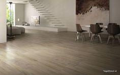 Elegant timber look tiles open up the floor area. Porcelain Wood Tile, Italian Tiles, Hardwood Floors, Flooring, Wood Look Tile, Blog Design, Reggio Emilia, Plank, Window Treatments