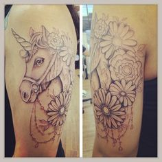 unicorn tattoo. definitely no bridle though