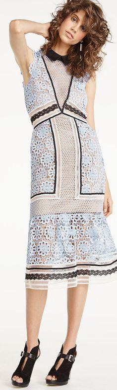 Self Portrait Sleeveless Paneled Lace Midi Dress, Blue/Black/White