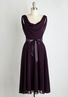 Truly, Madly, Dreamy Dress in Aubergine. Your attention is always on this sweet things in life, like this flowing chiffon dress! #purple #wedding #bridesmaid #modcloth