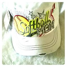 "White Softball MOM Cap! Show your spirit with this Softball MOM Cap! MOM letters have bling. Colors are white, red, neon yellow and grey. Adjustable back. Brand new, never worn, weathered look. I normally sell these for $25, but have them listed at $18 to make up the price for shipping. ""LIKE"" us on Facebook at Shopdaisy126 Accessories Hats"