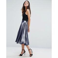 Warehouse Metallic Pleated Midi Skirt (117 AUD) ❤ liked on Polyvore featuring skirts, black, tall skirts, high waisted pleated skirt, pleated skirt, knee length pleated skirt and calf length skirts