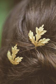Gold Thistle Leaf Bobby Pins Leaf Hair Pins Leaf by EchoandLaurel