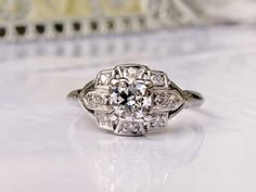 Antique Engagement Ring Old Transitional by LadyRoseVintageJewel, $3,250.00