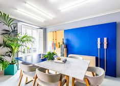 Bright colours and geometric forms used by the 1980s Memphis Group influenced the interior design of Masquespacio's new studio space.