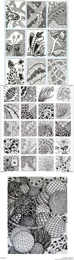 zen - More doodle ideas - Zentangle - doodle - doodling - zentangle patterns. Doodles Zentangles, Tangle Doodle, Tangle Art, Zentangle Drawings, Zen Doodle, Doodle Drawings, Doodle Art, Doodle Patterns, Zentangle Patterns