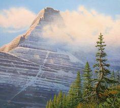 Morning on Mount Reynolds #art #art-print #artist #birdwoman-falls #glacier #glacier-national-park #landscape #limited-edition-print #monte-dolack #mount-reynolds #mountains #mountian #pine-trees #pines #snow #spring #waterfall
