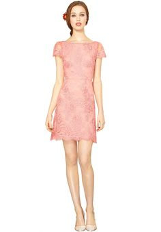ZENDEN SCALLOP EDGE DRESS in PINK ICING by Alice + Olivia