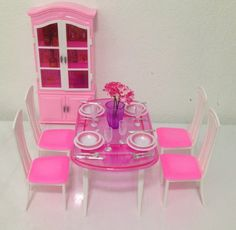 barbie size dollhouse furniture dinning room with 4 chairs cabinet huaheng toyshttp amazoncom barbie size dollhouse