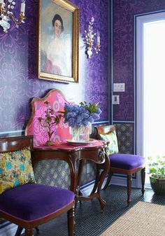 Love the purple..would accent with red and soft yellow vs. pink though...maybe a little marigold