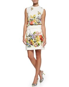 Dolce & Gabbana Sleeveless Floral-Panel Shell and High-Waist Floral Brocade Skirt