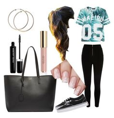 """all day casual outfit"" by wealthy890xx ❤ liked on Polyvore featuring beauty, River Island, Vans, Yves Saint Laurent and Marc Jacobs"