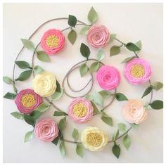 ROSE GARLAND // Felt Flower Garland // Floral Garland // Garden Party // Nursery Decor // You Pick Custom Colors
