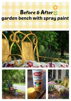 Before and after garden bench spray painted