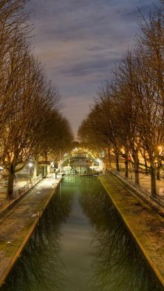 Canal Saint-Martin by Night in Paris, France. Go to www.YourTravelVideos.com or just click on photo for home videos and much more on sites like this.