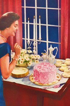 1950sunlimited:    A Lady…a Cake, c. 1950s.    Pink frosting ;)) retrogirly~