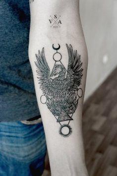 Pheonix, triangle, sun, moon tattoo   Andrei Svetov, Russia