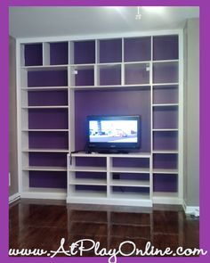 DIY built in bookcases with Ikea shelving